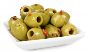 green olives with chilli and garlic - chilli powder, cracked black pepper, chilli flakes, garlic, green olives marinated with chilli and garlic and sunflower oil and extra virgin olive oil