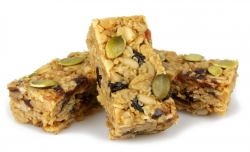 rustic rolled oat flapjack with mixed seeds and dried fruits