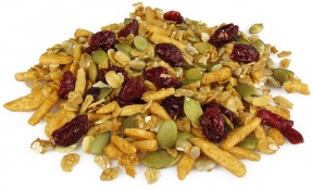 cranberry and honey nut granola - granola seeds, honey almond slivers and cranberries