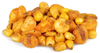 habas tapas - roasted corn, chilli broad beans and jumbo chilli corn