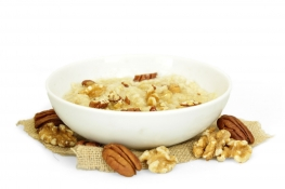 walnut and pecan porridge - chopped walnuts, chopped pecans, acacia honey and oats