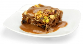 sticky toffee pudding - spiced rye cake and toffee sauce