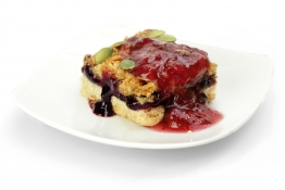 apple and blackcurrant crumble with blackberry compote - apple and blackberry compote and apple and blackcurrant crumble