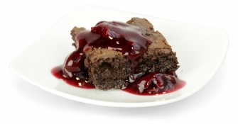 brilliant black forest - cherry compote and black forest brownie