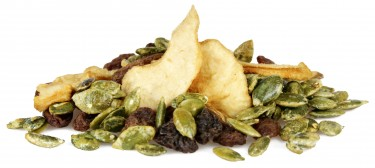 poached pear - pear, raisins, vanilla pumpkin seeds and lemon infused raisins