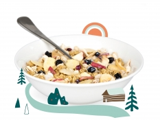 scandinavian forest fruits - oat and barley granola, apple pieces, apple barley, puffed brown rice, blueberries, crispy millet flakes and lingonberries