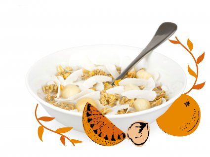 image of orange and macadamia granola