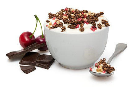 image of cherry and chocolate protein yoghurt topper