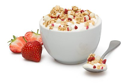 image of strawberries and cream protein yoghurt topper