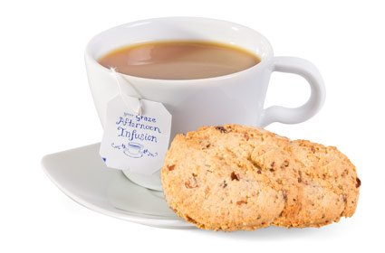 image of oatmeal raisin cookies and tea