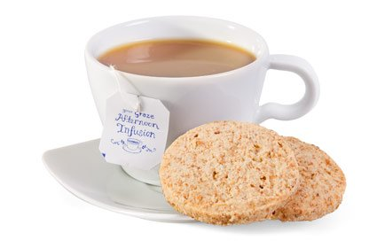 image of lemon almond cookies and tea