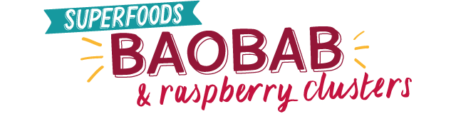 baobab raspberry coconut clusters with apple and pumpkin seeds