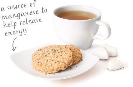 image of chia coconut cookie with graze's special blend black tea