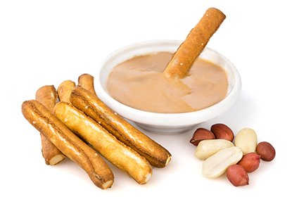 image of protein peanut butter dipper with baked pretzel sticks