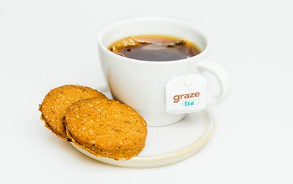 image of oatmeal & cinnamon cookies and tea