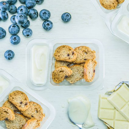 image of white chocolate dip and wild blueberry toasts