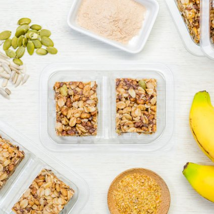 image of banana oat squares with superfoods