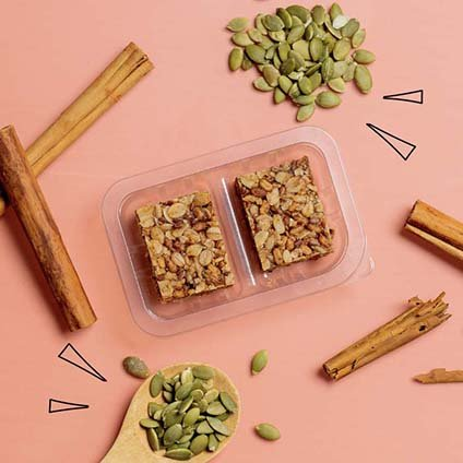 image of cinnamon oat squares with superfoods