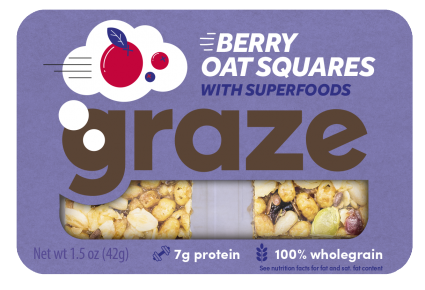 image of berry oat squares with superfoods