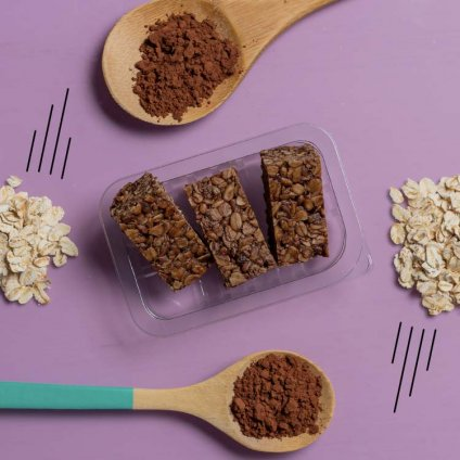 image of cocoa vanilla protein flapjack