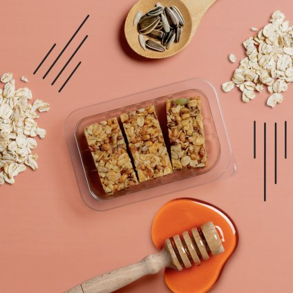 image of honey & seed protein flapjack