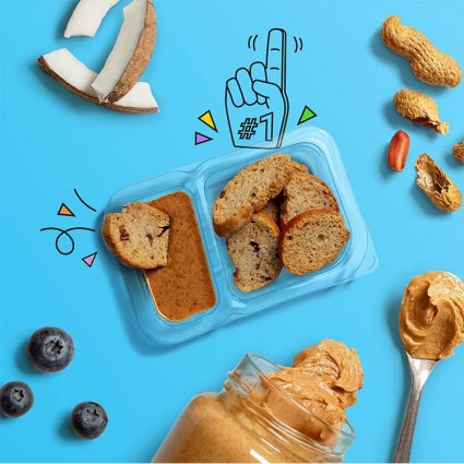 blueberry toasts with coconut peanut butter dip