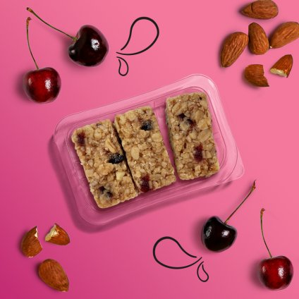 image of cherry bakewell fibre flapjack
