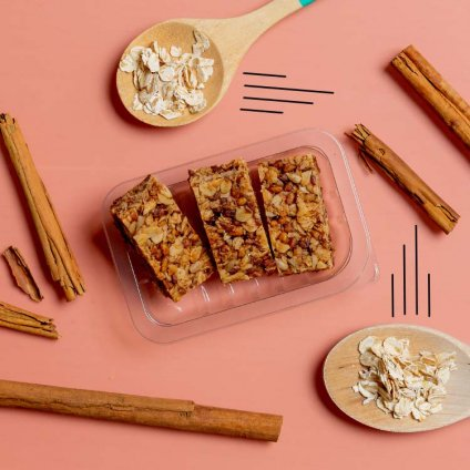 image of honey cinnamon protein flapjack